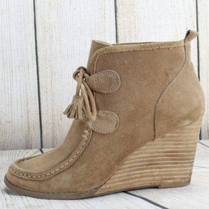 LUCKY BRAND Suede Lace-up Wedge Bootie Size 7